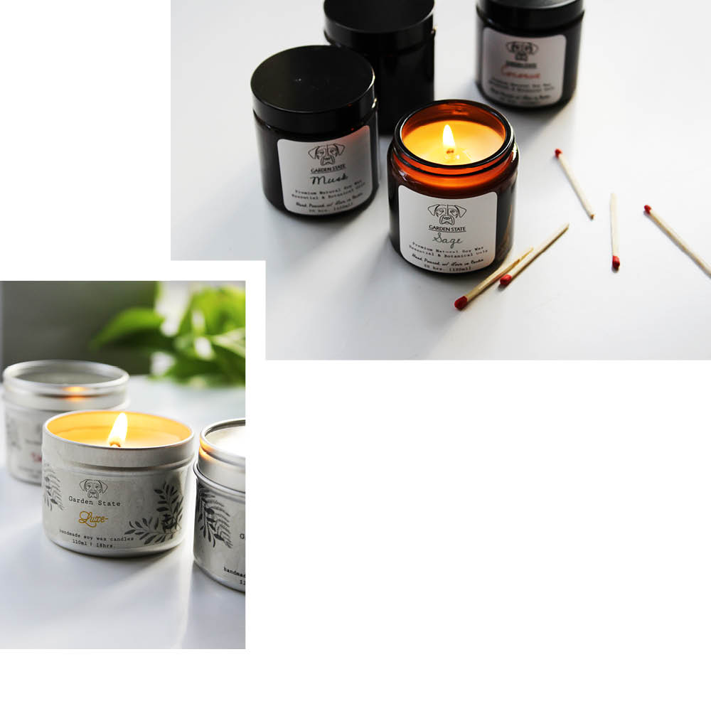 GARDEN STATE CANDLES: HAND POURED WITH BOTANICAL OILS
