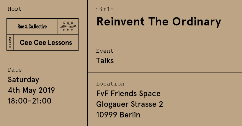 THIS SATURDAY: THE ROE&CO.LLECTIVE X CEE CEE LESSONS TALK EVENT AT FVF FRIENDS SPACE. JOIN US!