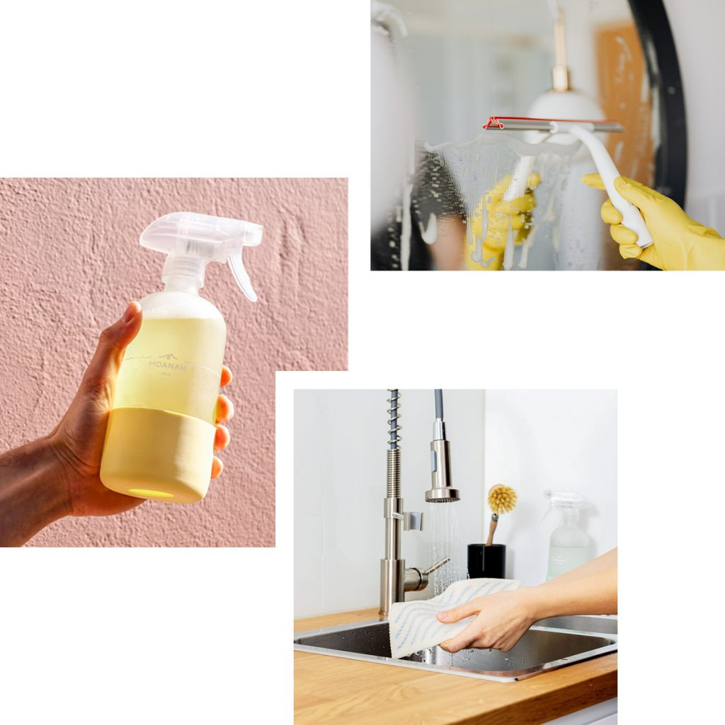 SUSTAINABLE WASHING AND WIPING — MIX-AT-HOME SPRAY CLEANERS FROM MOANAH